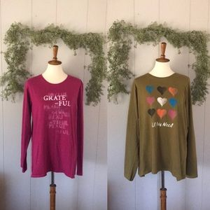 2 LIFE IS GOOD Graphic Long Sleeve T-Shirts sz XL